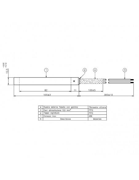 Resistenza Lineare Per Macchina Da Caffè Esecuzione dritta, diametro 12,5mm, lunghezza totale 100mm, 700Watt.