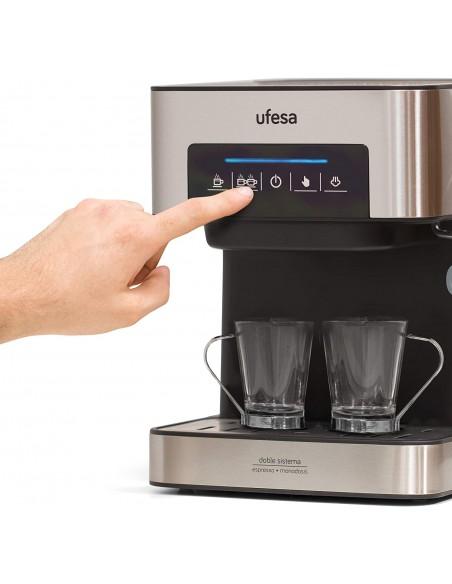 Ufesa Ce7255 Macchina per Caffè Espresso Due Funzioni: Macchina Da Caffè Cialde, Macchina Da Caffè Macinato, Touch Screen